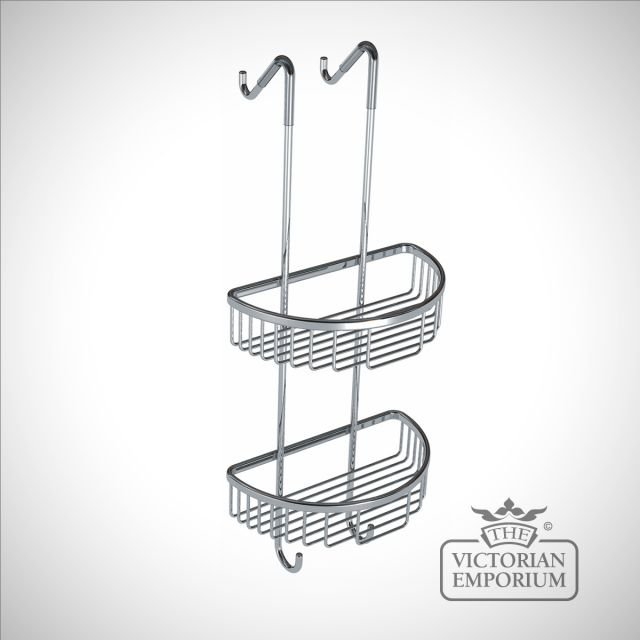 Tall double tier D shaped shower tidy