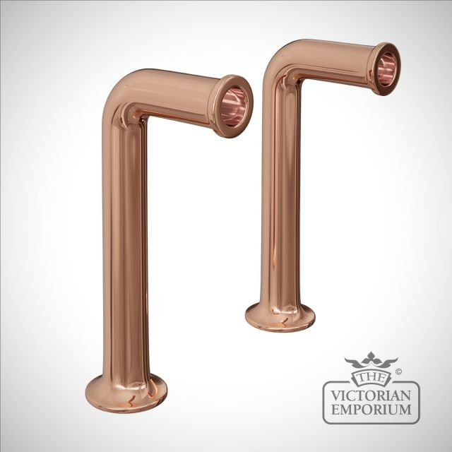 Traditional bib tap stands in rose gold