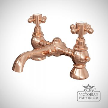 Traditional basin mixer tap in rose gold