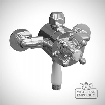 Traditional exposed thermostatic valve with porcelain control