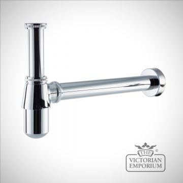 Chrome modern round bottle trap and outlet pipe