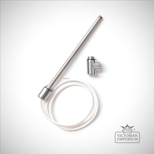 Dual Fuel Electric element with 1.2m cable & white/chrome cap - 100-600 Watts
