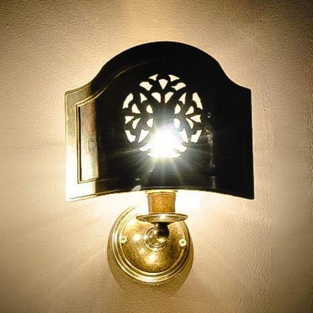 Small copper wall screen light