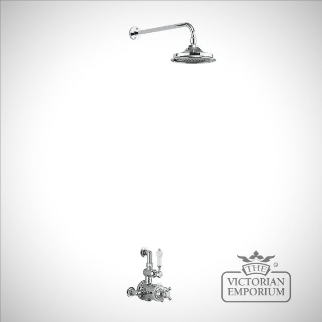 Bristol Thermostatic Exposed Shower Valve Single Outlet with Fixed Shower Arm with 6 inch rose