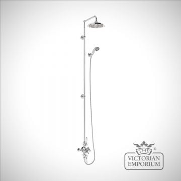 Bristol Thermostatic Exposed Shower Valve Two Outlet,Rigid Riser, Swivel Arm, Handset & Holder