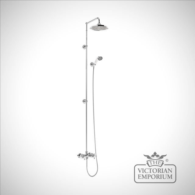 Dorset Thermostatic Exposed Shower Bar Valve Two Outlet, Rigid Riser, Swivel Shower Arm, Handset