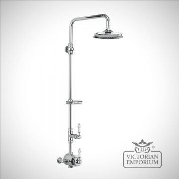 Stowe Thermostatic Exposed Shower Valve Single Outlet, Rigid Riser, Fixed Shower Arm & Soap Basket