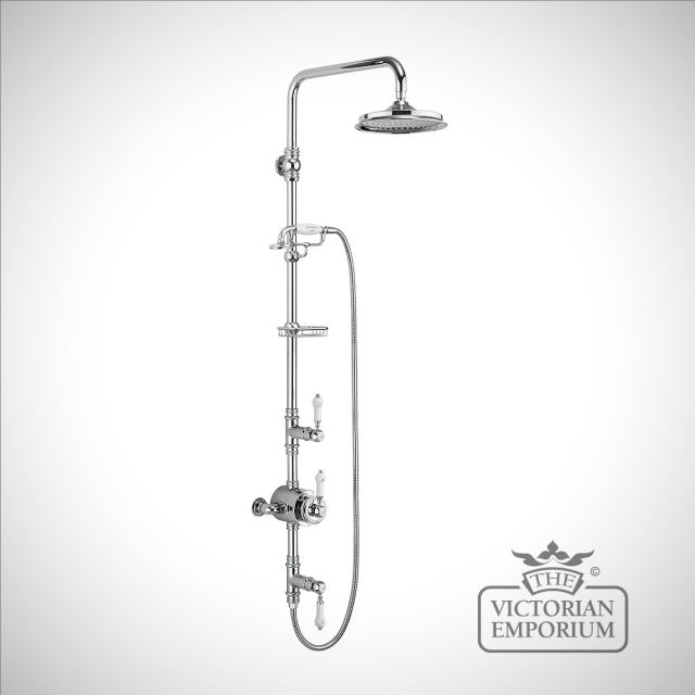 Stowe Thermostatic Exposed Shower Valve Two Outlet, Rigid Riser, Fixed Shower Arm