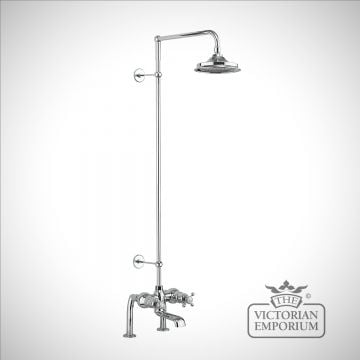 Tayside Thermostatic Bath Shower Mixer Deck Mounted with Rigid Riser & Swivel Shower Arm