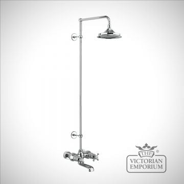Tayside Thermostatic Bath Shower Mixer Wall Mounted with Rigid Riser & Swivel Shower Arm