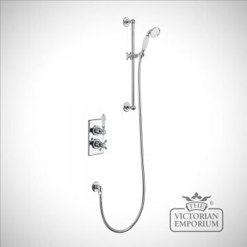 Trenton Thermostatic Single Outlet Concealed Shower Valve with Rail, Hose and Handset