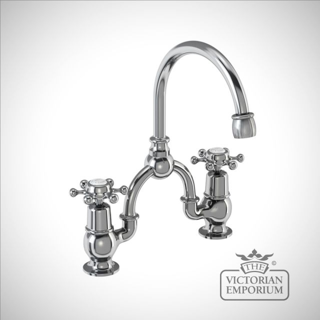 Liverpool 2 tap hole arch mixer with curved spout