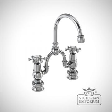 Liverpool Regent 2 tap hole arch mixer with curved spout
