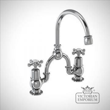 Clearmont 2 tap hole arch mixer with curved spout