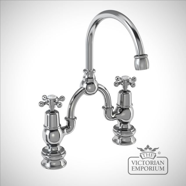 Clearmont Regent 2 tap hole arch mixer with curved spout