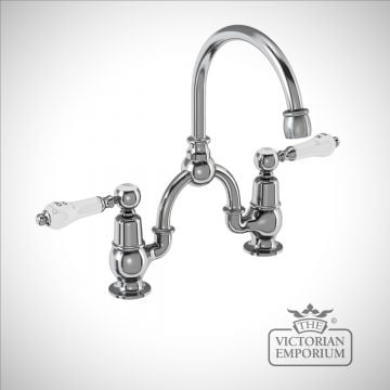 Knightsbridge 2 tap hole arch mixer with curved spout