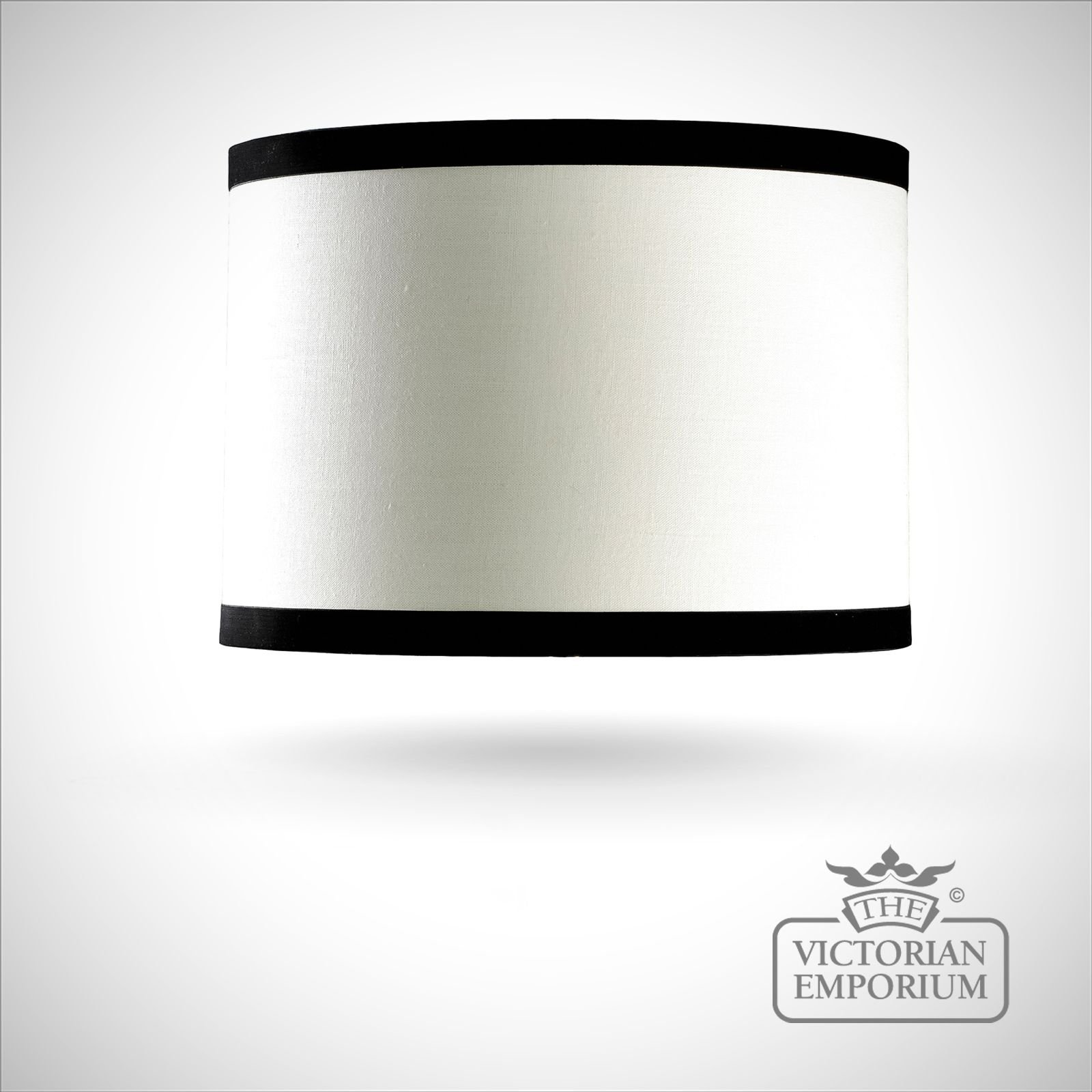 Cylinder Shade In Off White And Black 36cm Lamp Shades