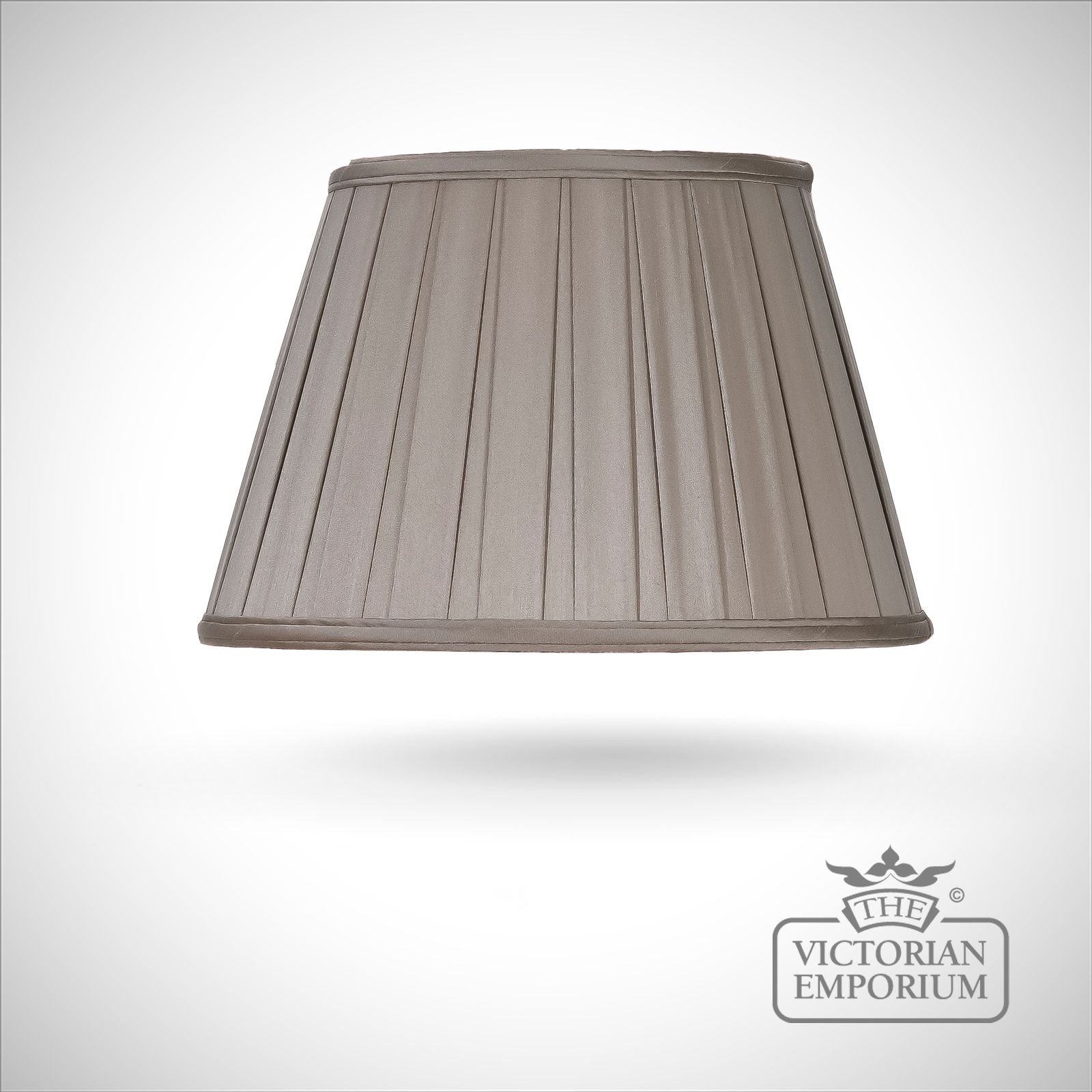 Round Box Pleat Lamp Shade In Grey Brown 36cm Lamp Shades
