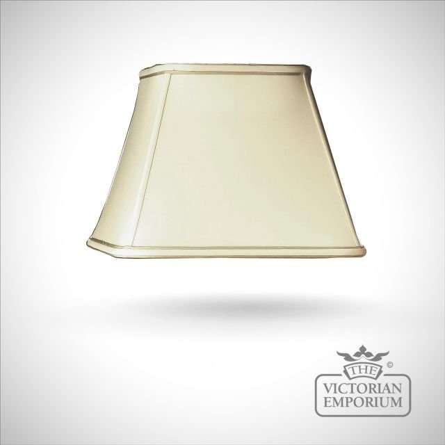 Cotton Empire Square  Lamp Shade with Celadon Trim in Oyster - 33cm