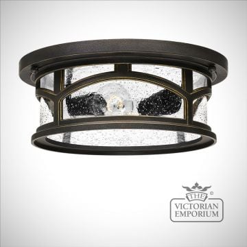 Marble flush mount outdoor light in Palladian Bronze