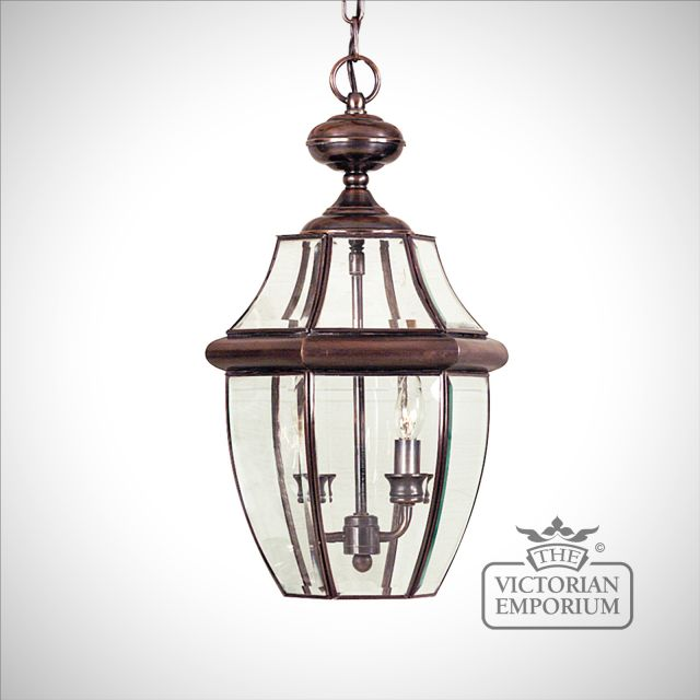 Newbury Large Chain Lantern in Aged Copper