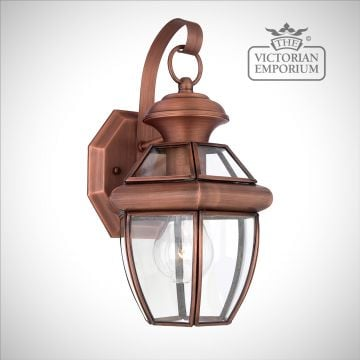 Newbury small wall light in Aged Copper