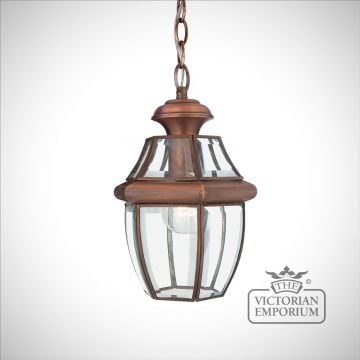 Newbury Medium Chain Lantern in Aged Copper