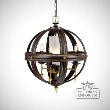 Regal 4 light chandelier in old rubbed bronze and gold
