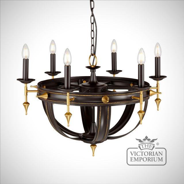 Regal 6 light chandelier in old rubbed bronze and gold