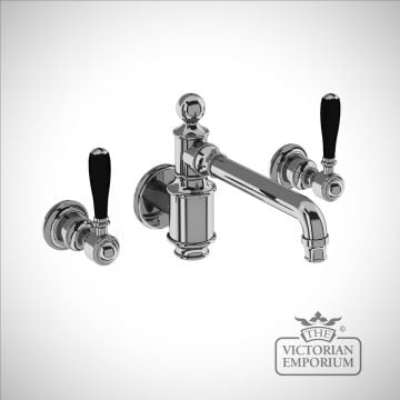 Three hole basin mixer wall-mounted without pop up waste with black lever