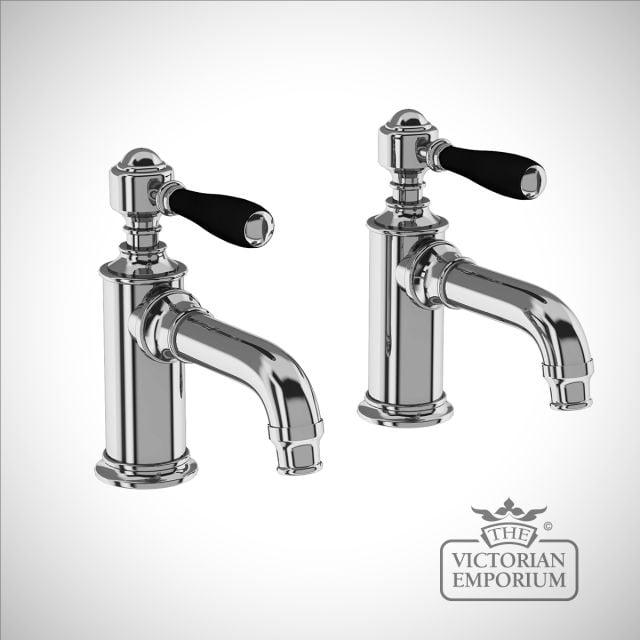 Basin pillar tap - with black lever