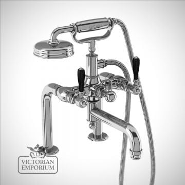 Bath shower mixer deck-mounted with black lever