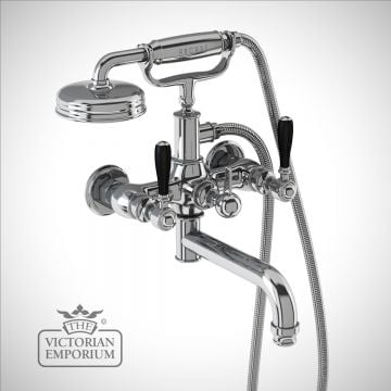 Bath shower mixer wall-mounted with black lever