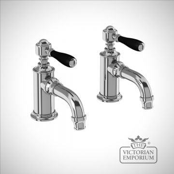 Cloakroom basin pillar taps with black lever