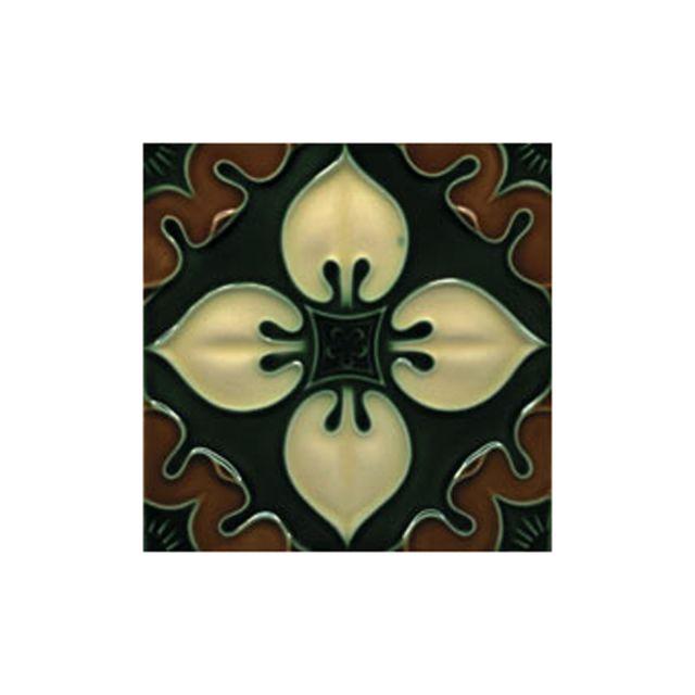 Victorian Benthall multi coloured decorative tiles 152x152mm - exterior use - laurel