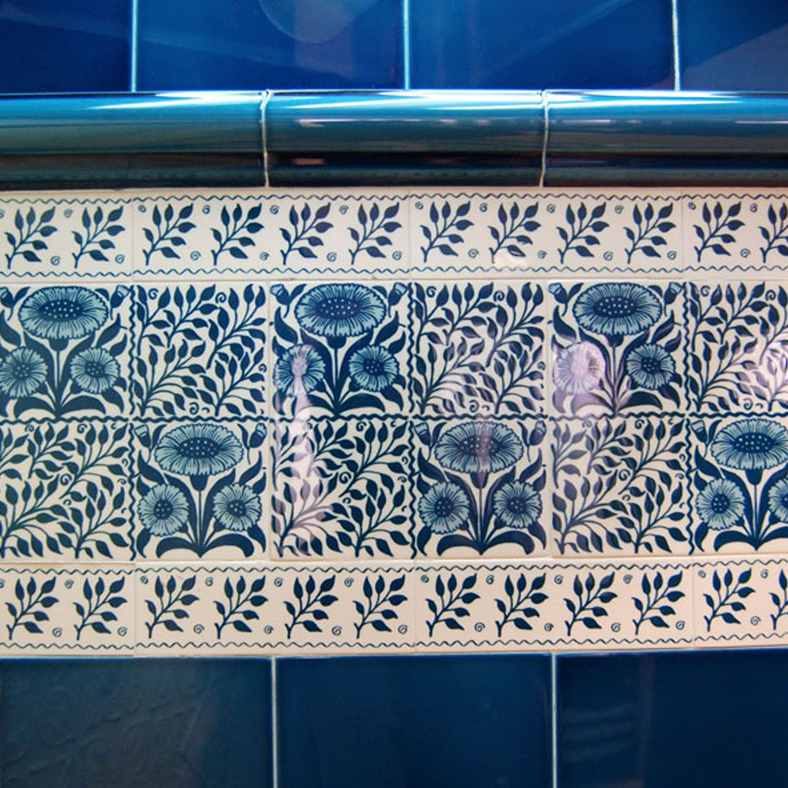 Decorative Wall Tiles For Outside : Victorian oreton blue decorative tiles mm
