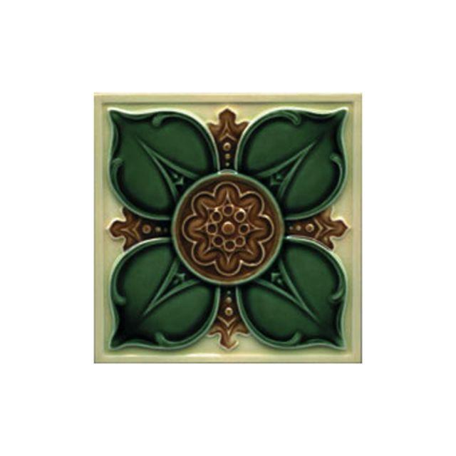 Victorian Leighton multicoloured decorative tiles 152x152mm - exterior use - buttermilk