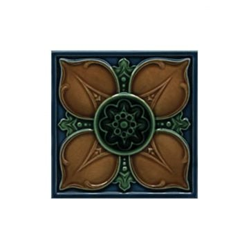 Victorian Leighton multicoloured decorative tiles 152x152mm - exterior use - deep blue