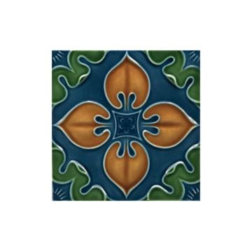 Victorian Benthall multi coloured decorative tiles 152x152mm - exterior use - deep blue