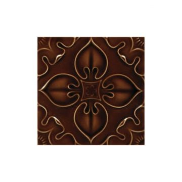 Victorian Benthall single colour decorative tiles 152x152mm - exterior use - chestnut