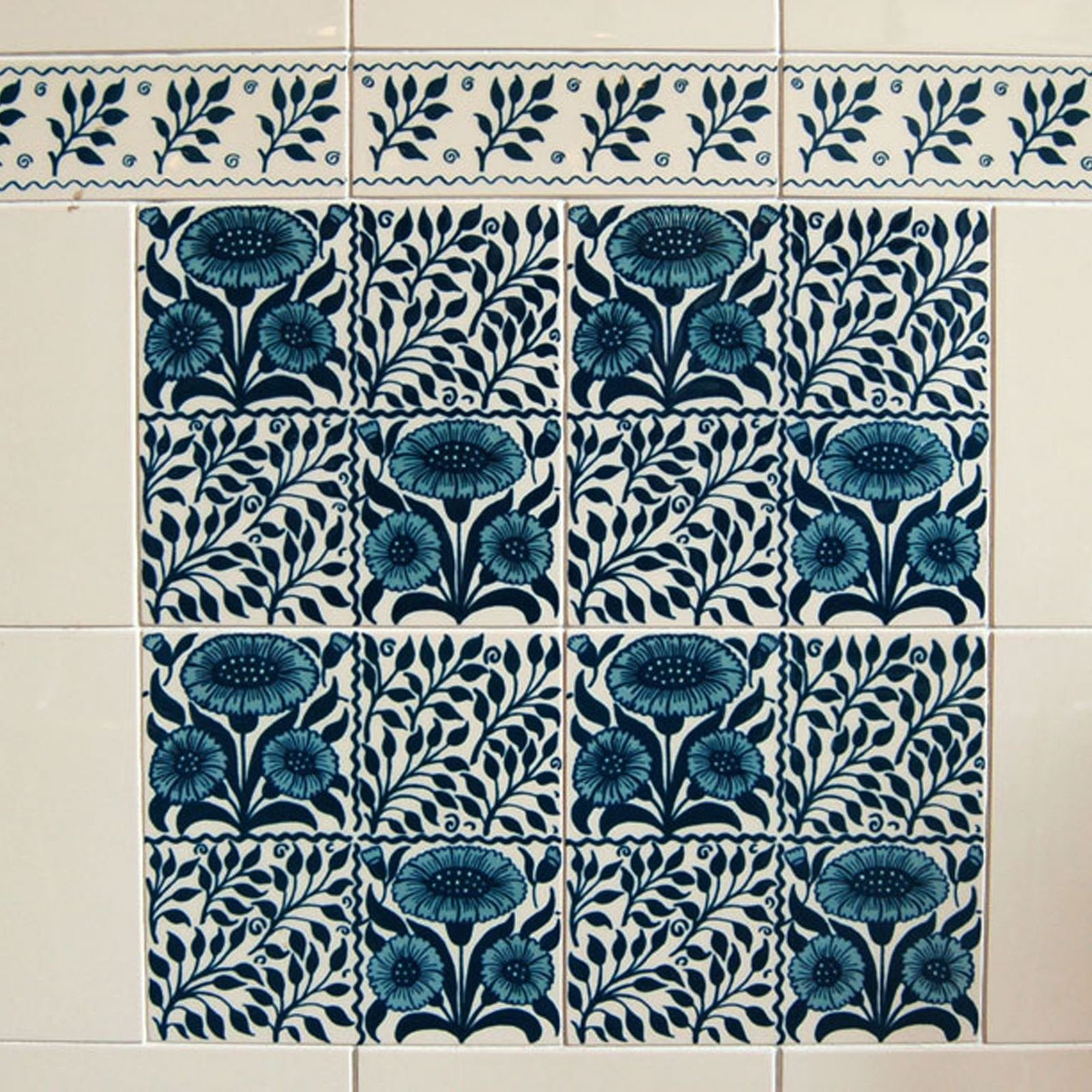 Victorian Fenton Blue Decorative Tiles 50 X152mm