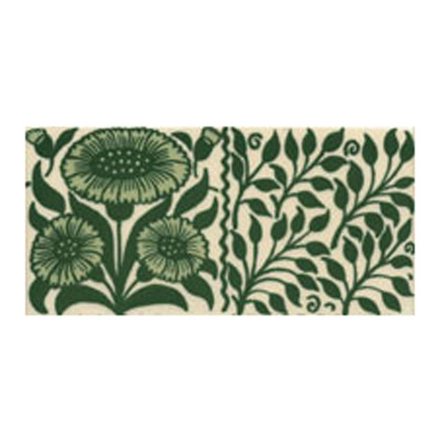 Victorian Oreton Border green decorative tiles 75x152mm - exterior use
