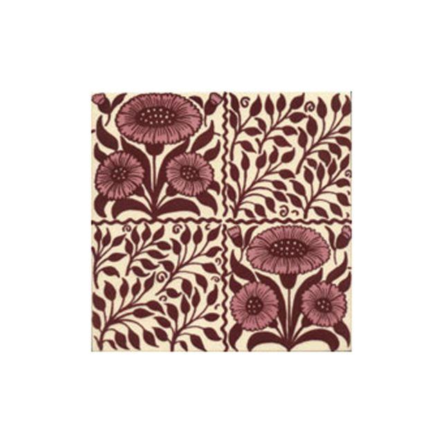 Victorian Oreton red decorative tiles 152x152mm - exterior use