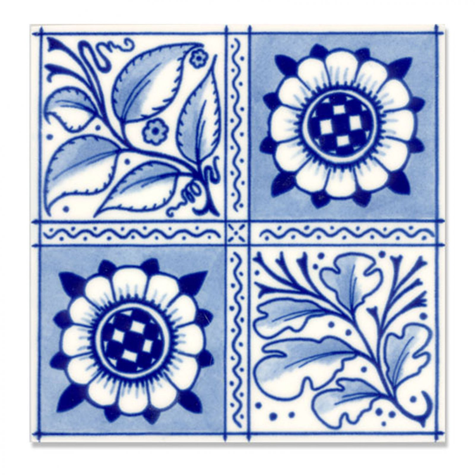 Victorian Oakleaf And Sunflower Decorative Tiles 152x152mm