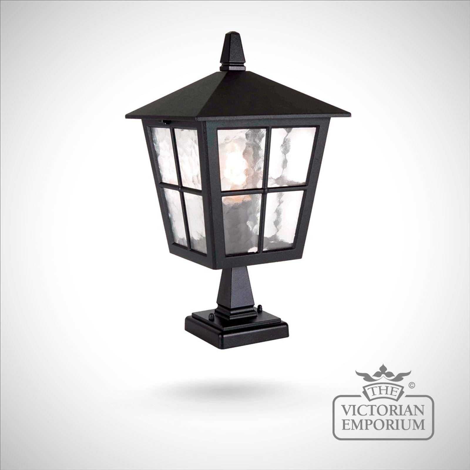 Cheltenham Cast Pedestal Lantern Light Black: Exterior Pedestal Lantern