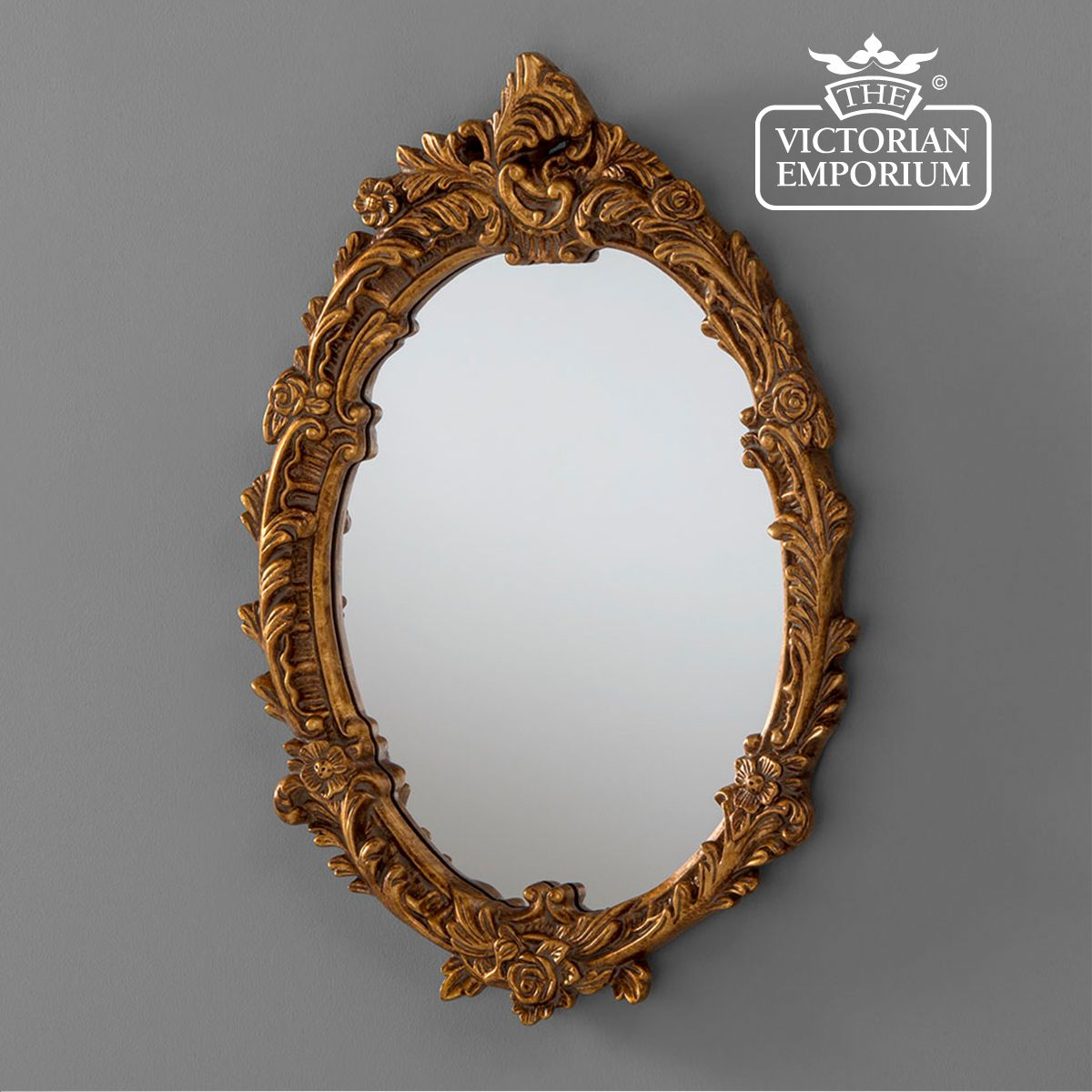 Gold Framed Oval Decorative Mirror 64x46cm
