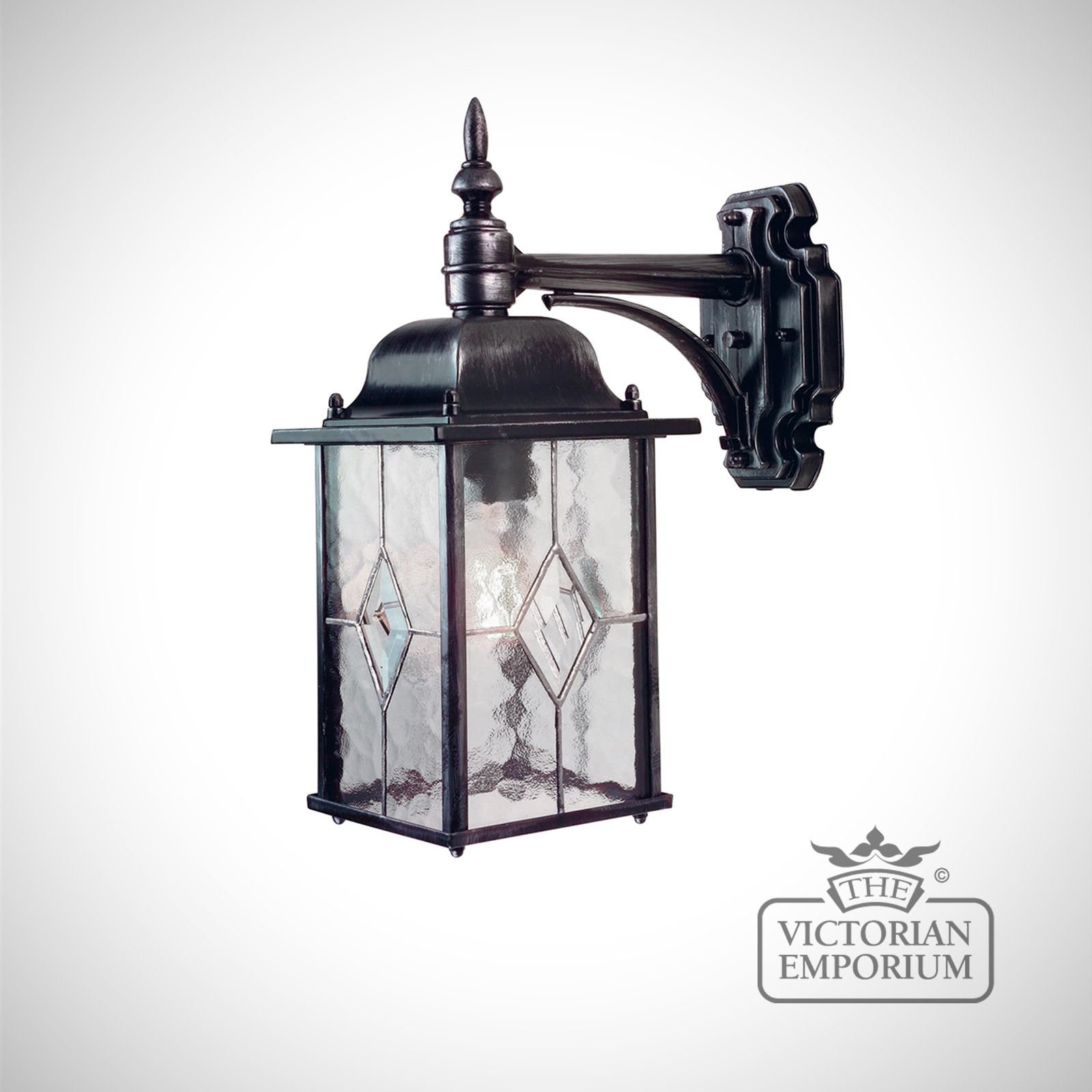 Traditional Silver Haematite Gate Post Lantern Or Driveway: Wexford Down Wall Lantern