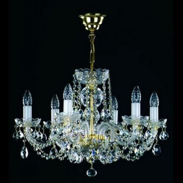 Traditional chandelier with pear shaped droplets
