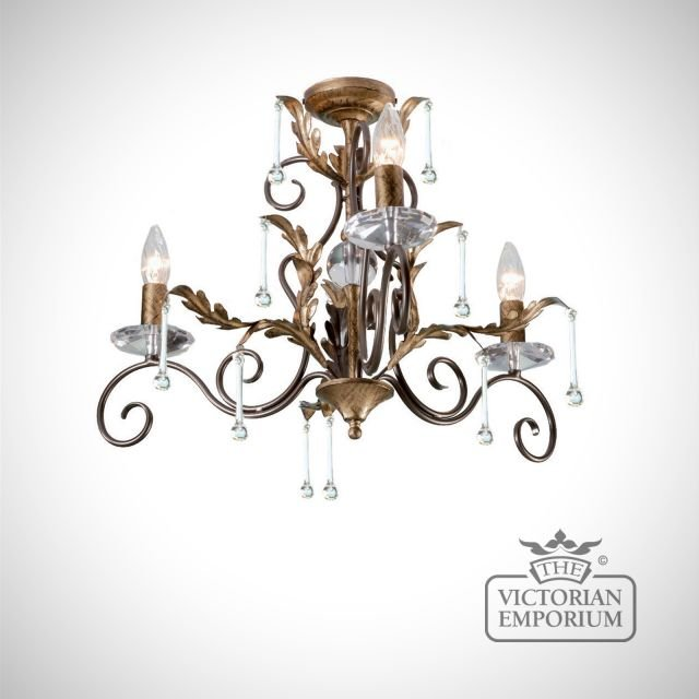 Amarrilli 3 light small chandelier in gold or silver