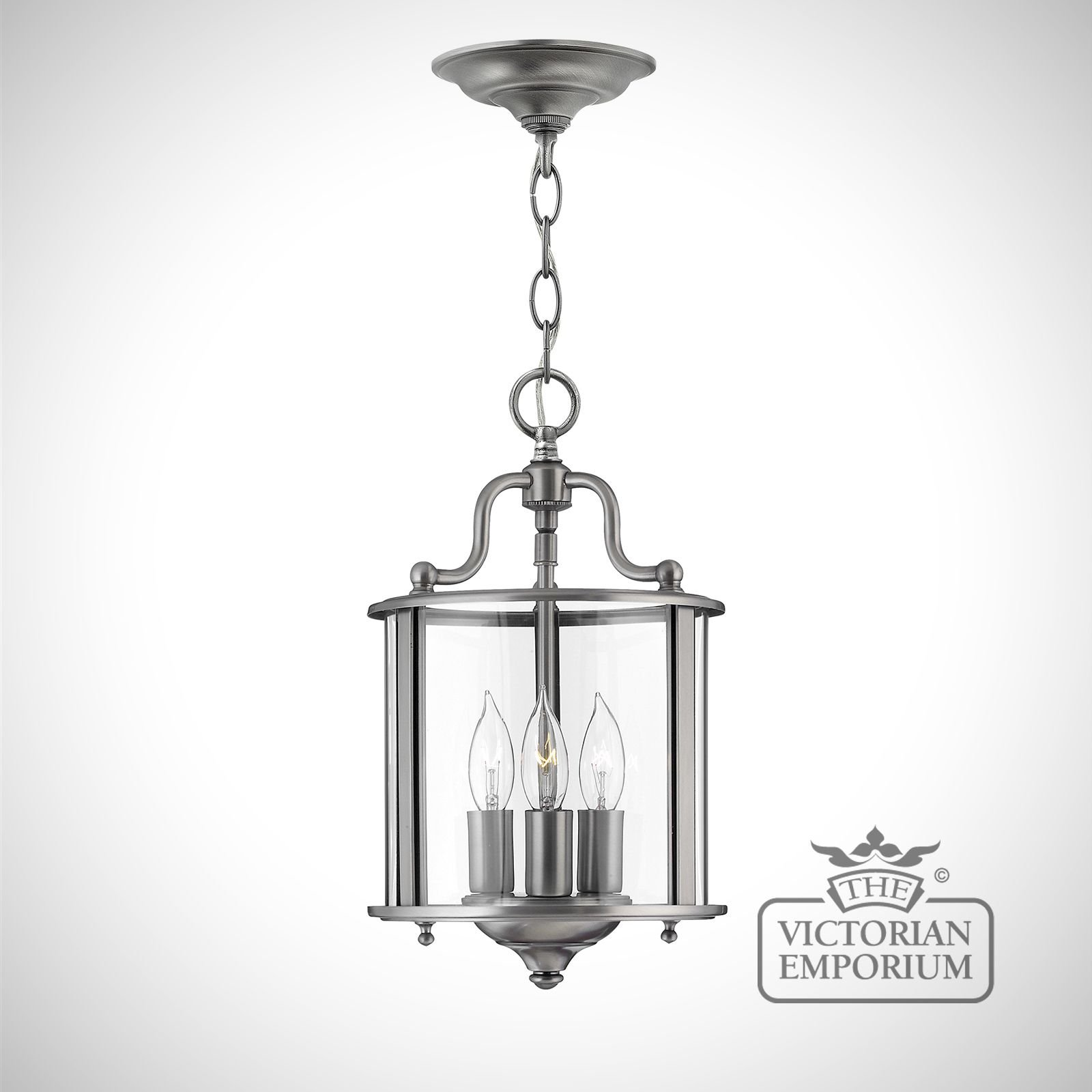 Traditional Silver Haematite Gate Post Lantern Or Driveway: Gentry Small Pendant In Polished Pewter